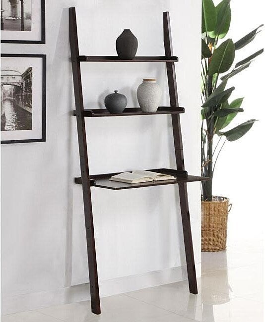 A two-shelf wood bookcase in dark brown with a desk at the bottom