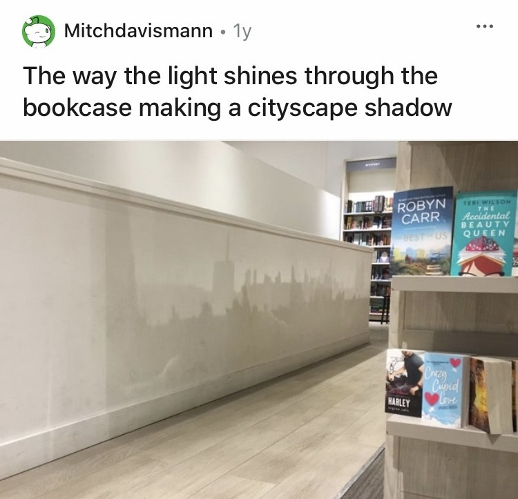 Book cases are casting shadows that look like a city scape on the wall