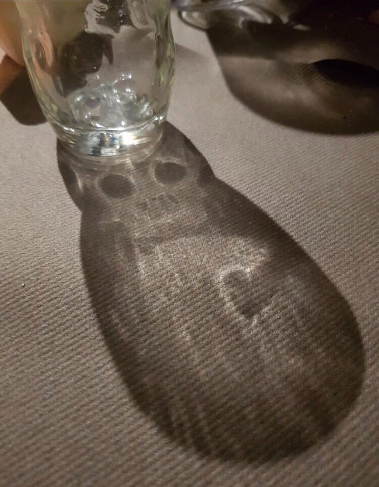 A glass is casting a shadow that has a creepy skull in it