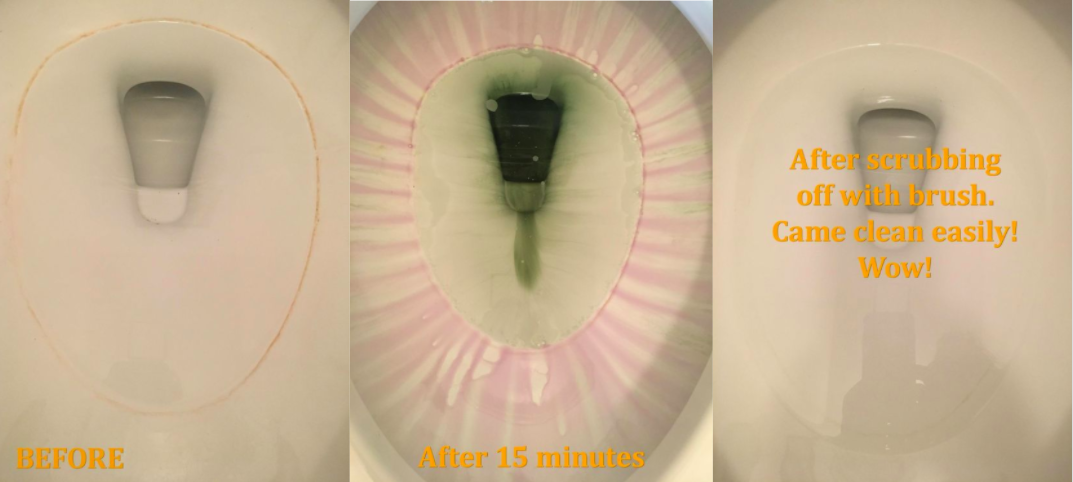 Reviewer's before-and-after of their toilet bowl with hard water ring, the cleaning gel dissolving it for 15 minutes, and then the toilet bowl totally clean without scrubbing