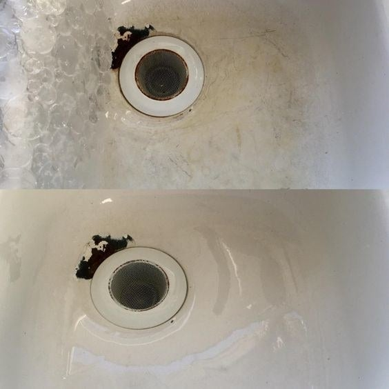 Reviewer's before-and-after of their scratched-up porcelain sink and then new-looking sink