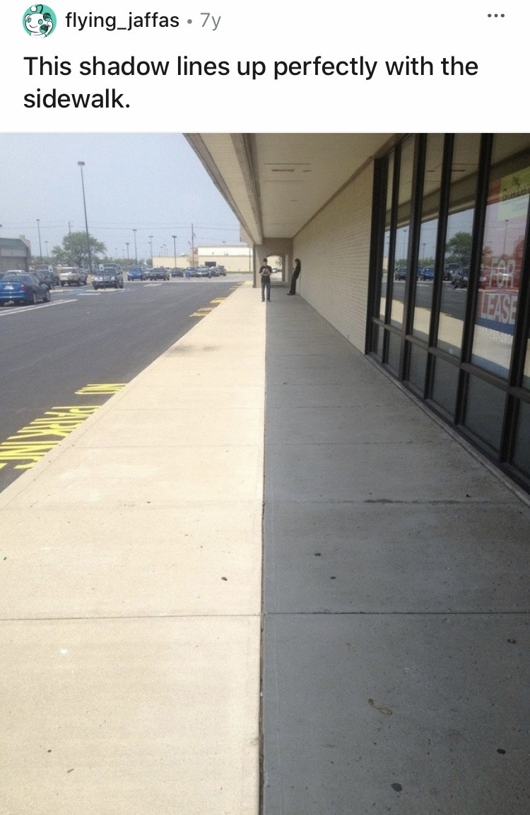 A shadow is being perfectly split in half by a line in a sidewalk