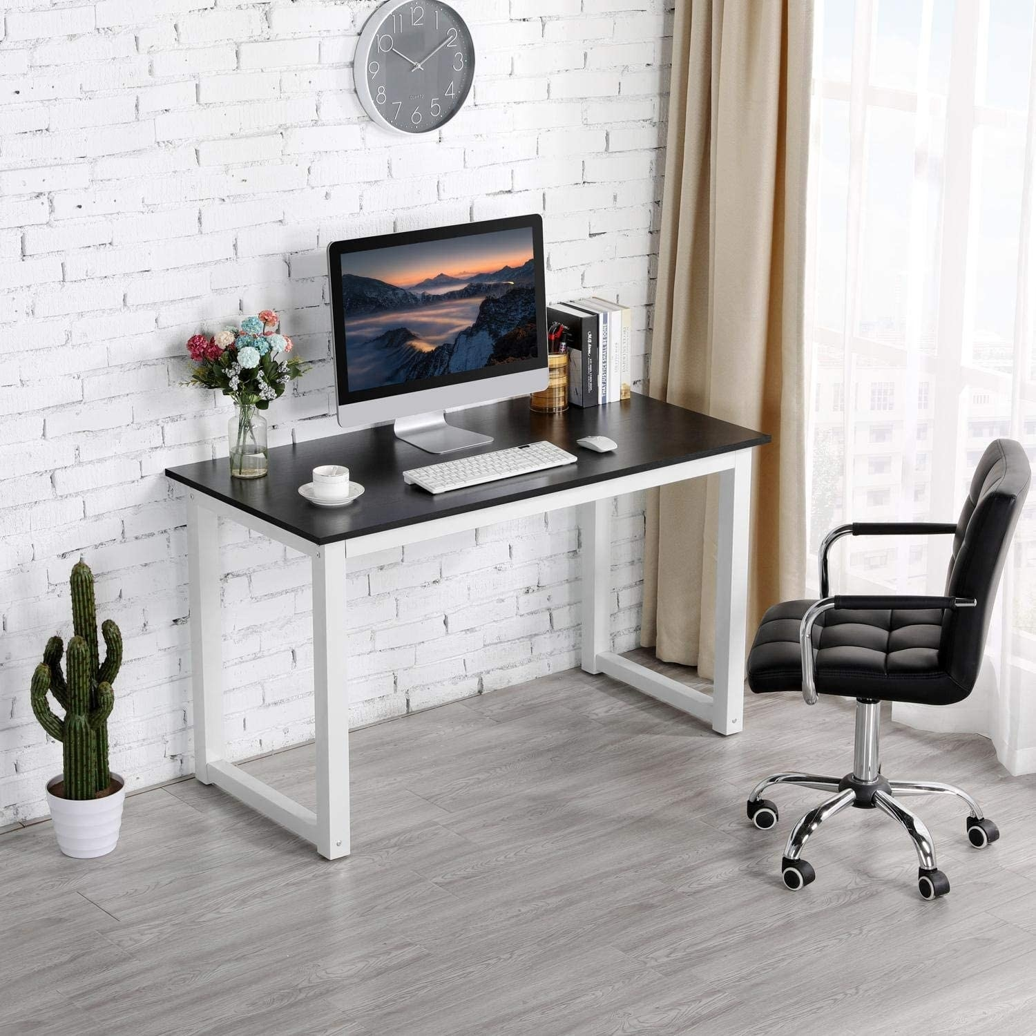 Black-top desk with white thick legs