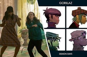 Vanya and Allison dance next to the album cover for Gorillaz's Demon Days