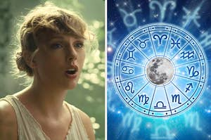 Taylor Swift sings in the Cardigan music video next to an image of the zodiac wheel