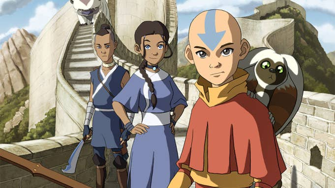 Aang, Katara, Sokka, Momo and Appa standing on some steps, ready to fight