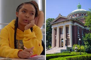 """On the left, Yara Shahidi sits at a desk and takes notes in class as Zoey in """"Grown-ish"""""""