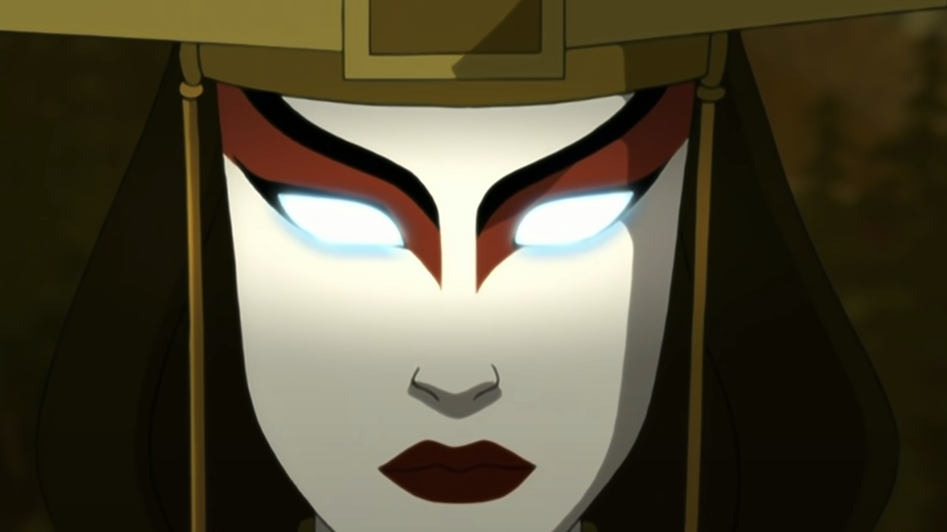 Avatar Kyoshi; she is in the Avatar state, as seen by her blue-lit eyes