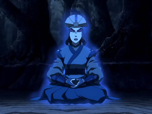 Avatar Kyoshi's spirit sitting down; she has a blue aura around her