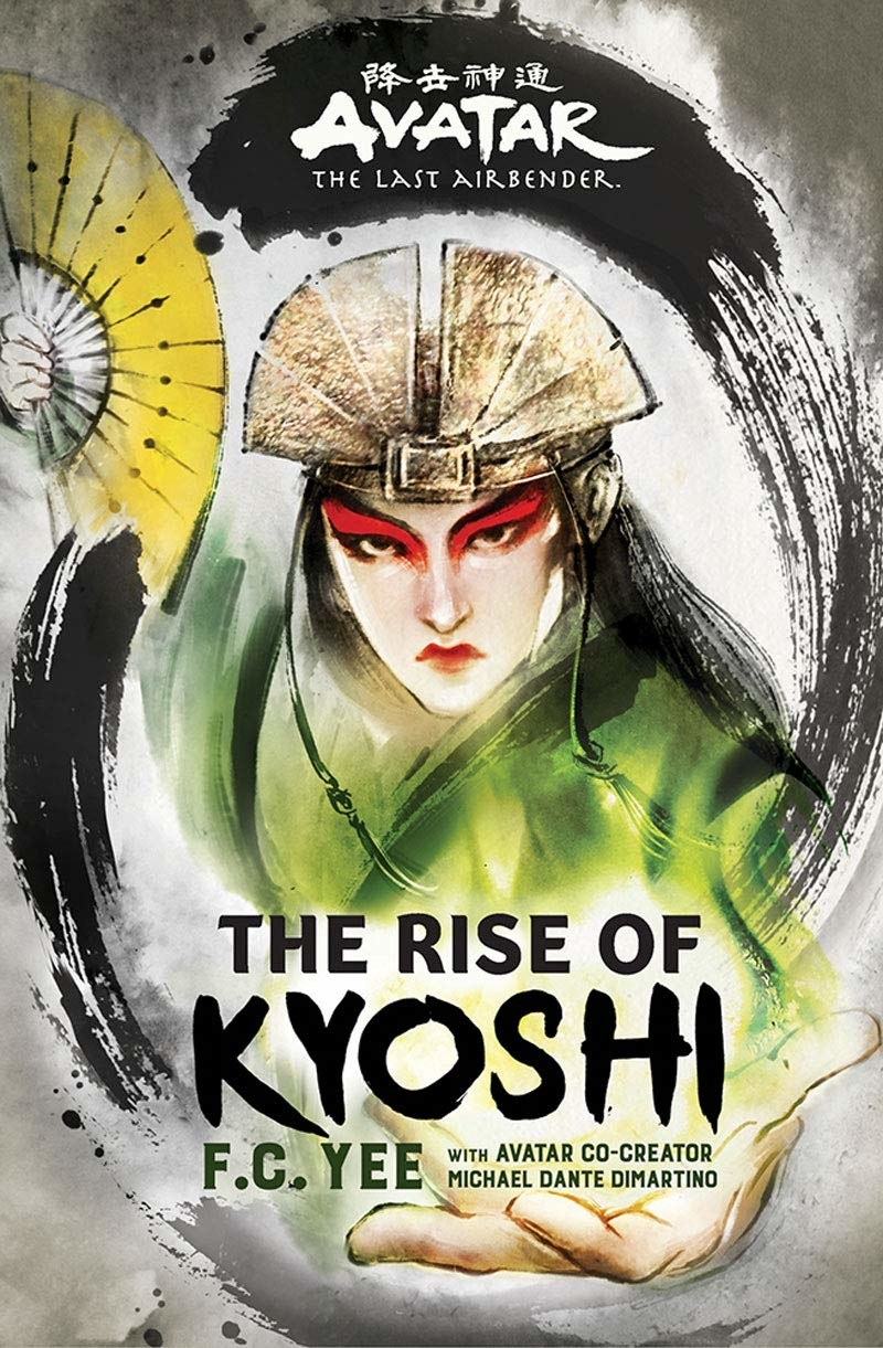 "The cover of ""The Rise Of Kyoshi""; Avatar Kyoshi has her fan raised and ready to attack"