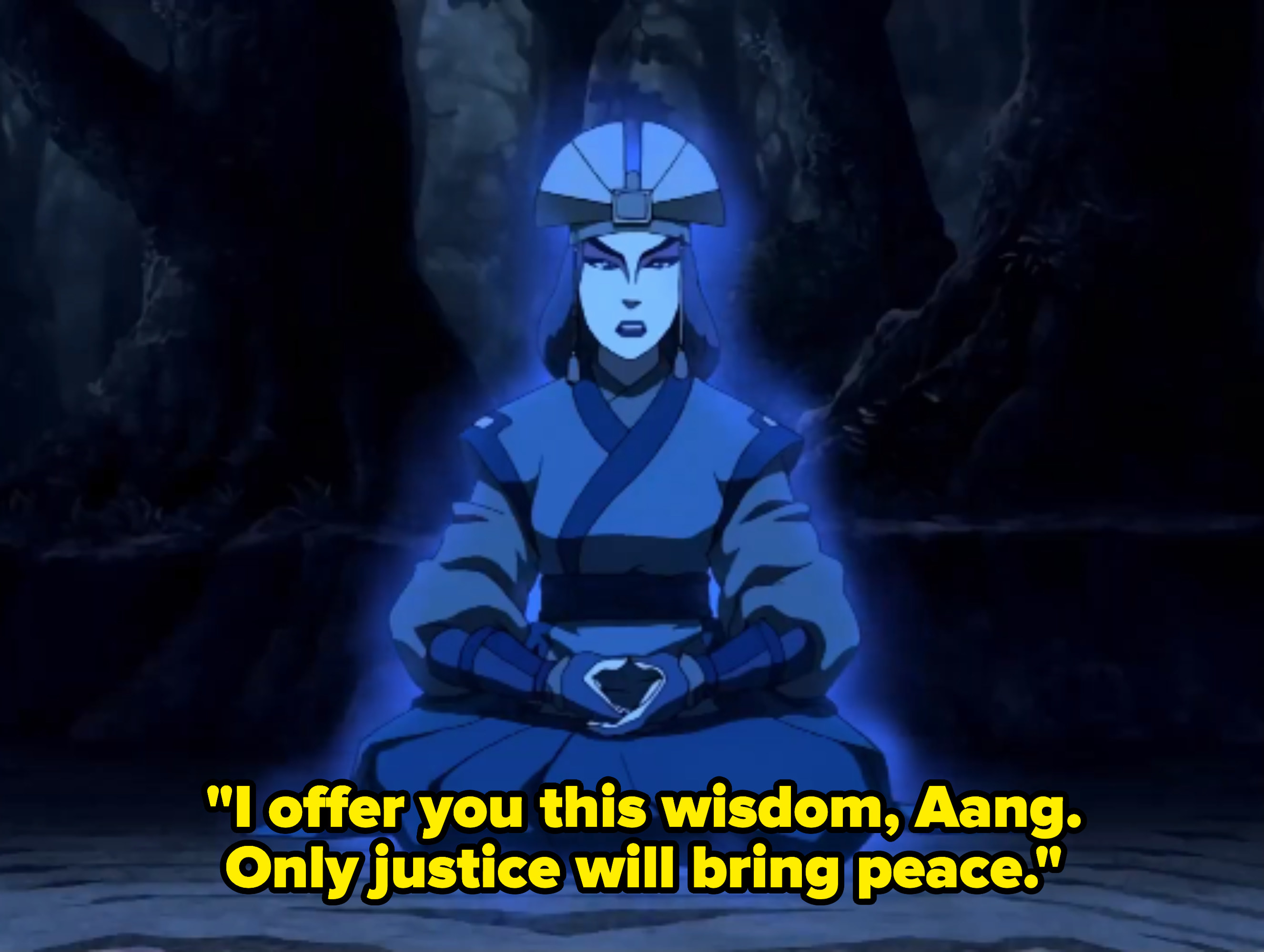 "Kyoshi's spirit; the caption reads: ""I offer you this wisdom, Aang. Only justice will bring peace."""