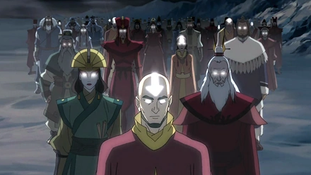 The Avatar succession line; Adult Aang, Kyoshi, Roku and many others are present. Their eyes are glowing