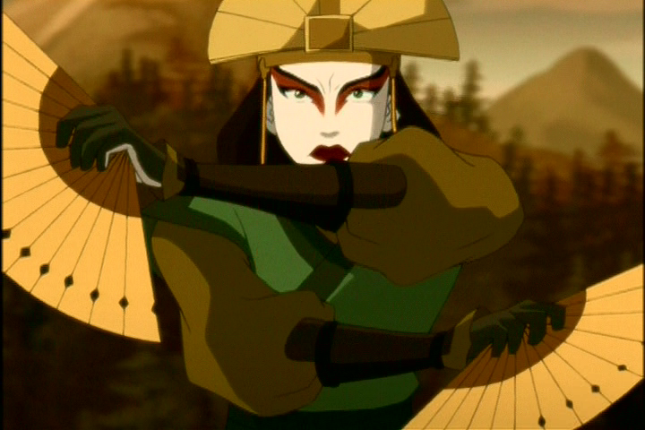 Avatar Kyoshi engaged in battle using her fans