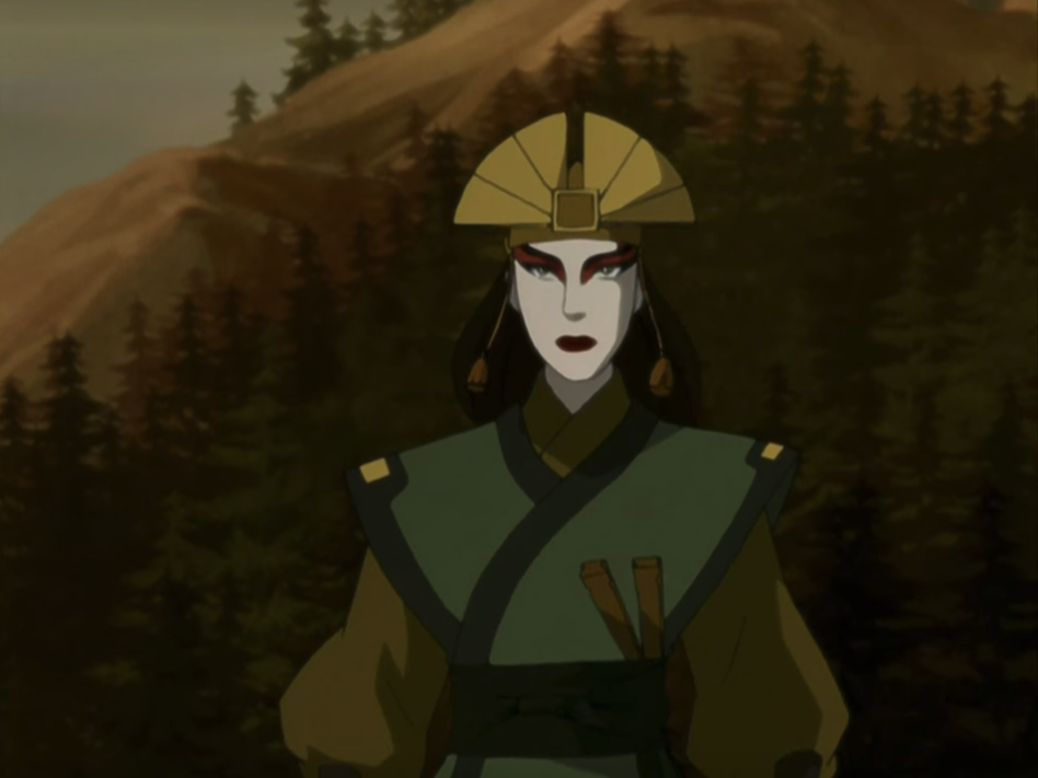 Avatar Kyoshi standing, ready to attack