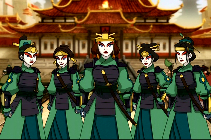 The Kyoshi Warriors dressed in a green warrior outfit similar to that of Kyoshi's