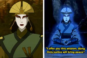 Left: Avatar Kyoshi; Right: Avatar Kyoshi in spirit form (the caption reads: