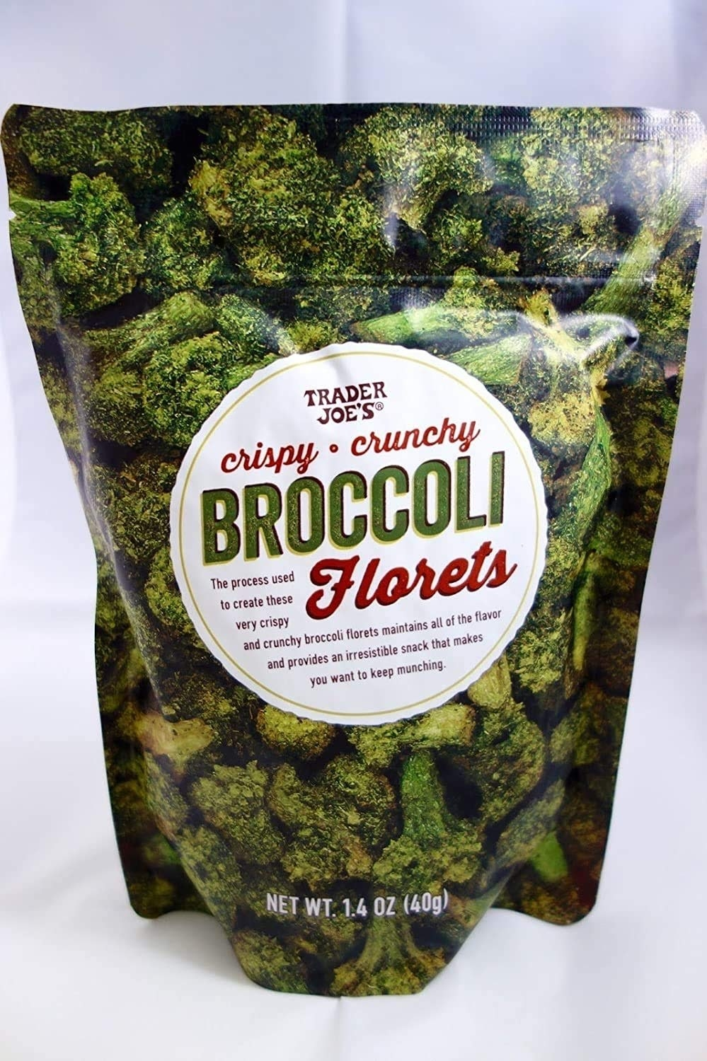 Picture of a bag of Trader Joe's crispy crunchy broccoli florets