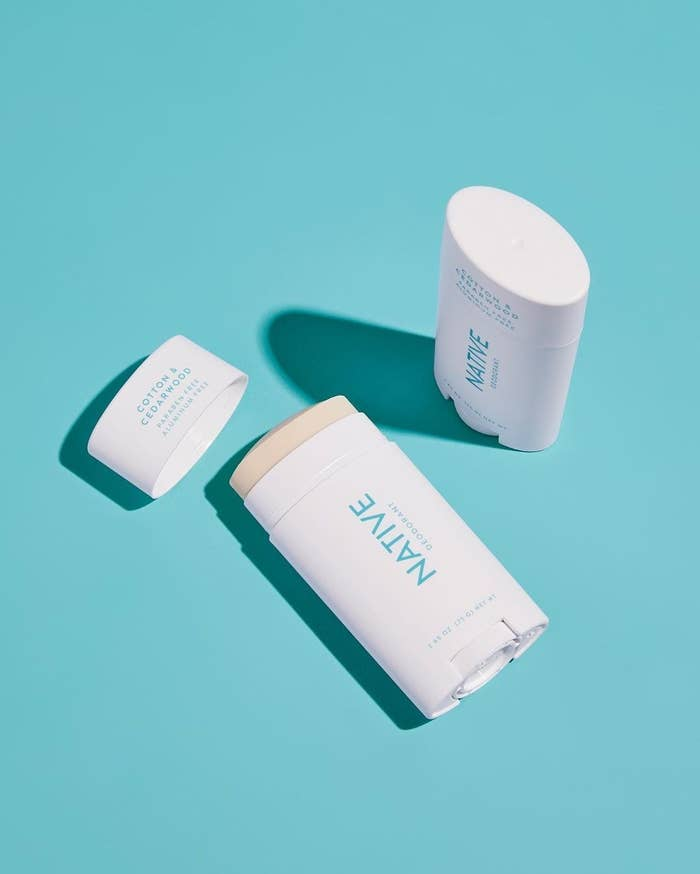 Product photo showing NATIVE natural deodorant in cotton & cedarwood scent