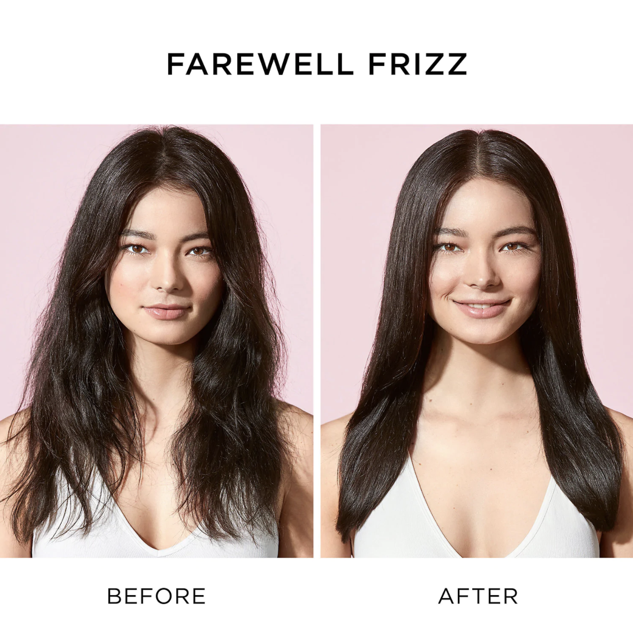 A model with frizzy flyaways at first, then smoother hair after using the product