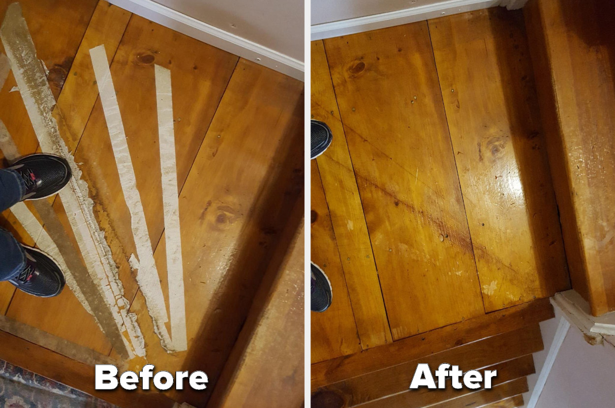 A before-image of tape residue on wooden stairs and an after-image of the same stares cleaned with Goo Gone