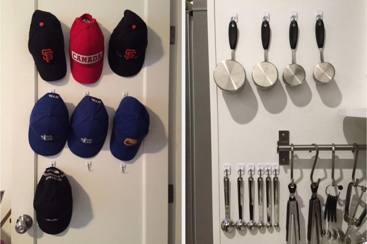 A reviewer displaying wire hooks holding baseball caps and utensils
