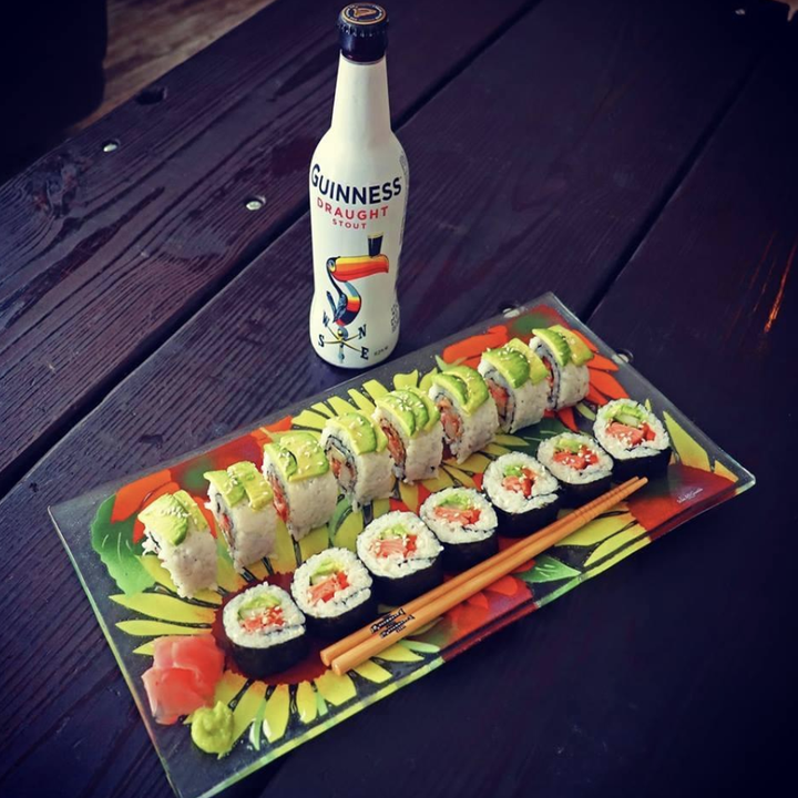Reviewer image of completed sushi rolls on a plate