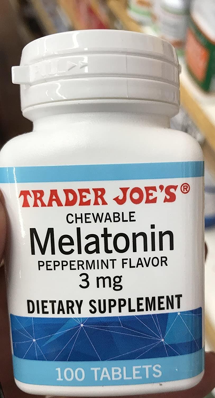 Bottle of Trader Joe's chewable melatonin