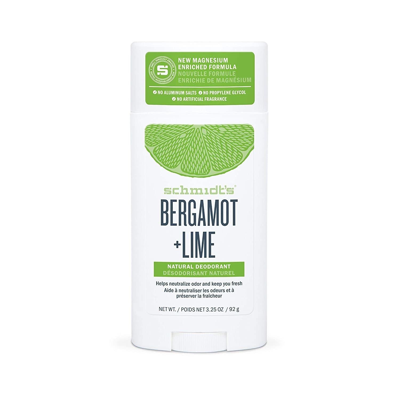 Product photo showing Schmidt's Bergamot & Lime natural deodorant.