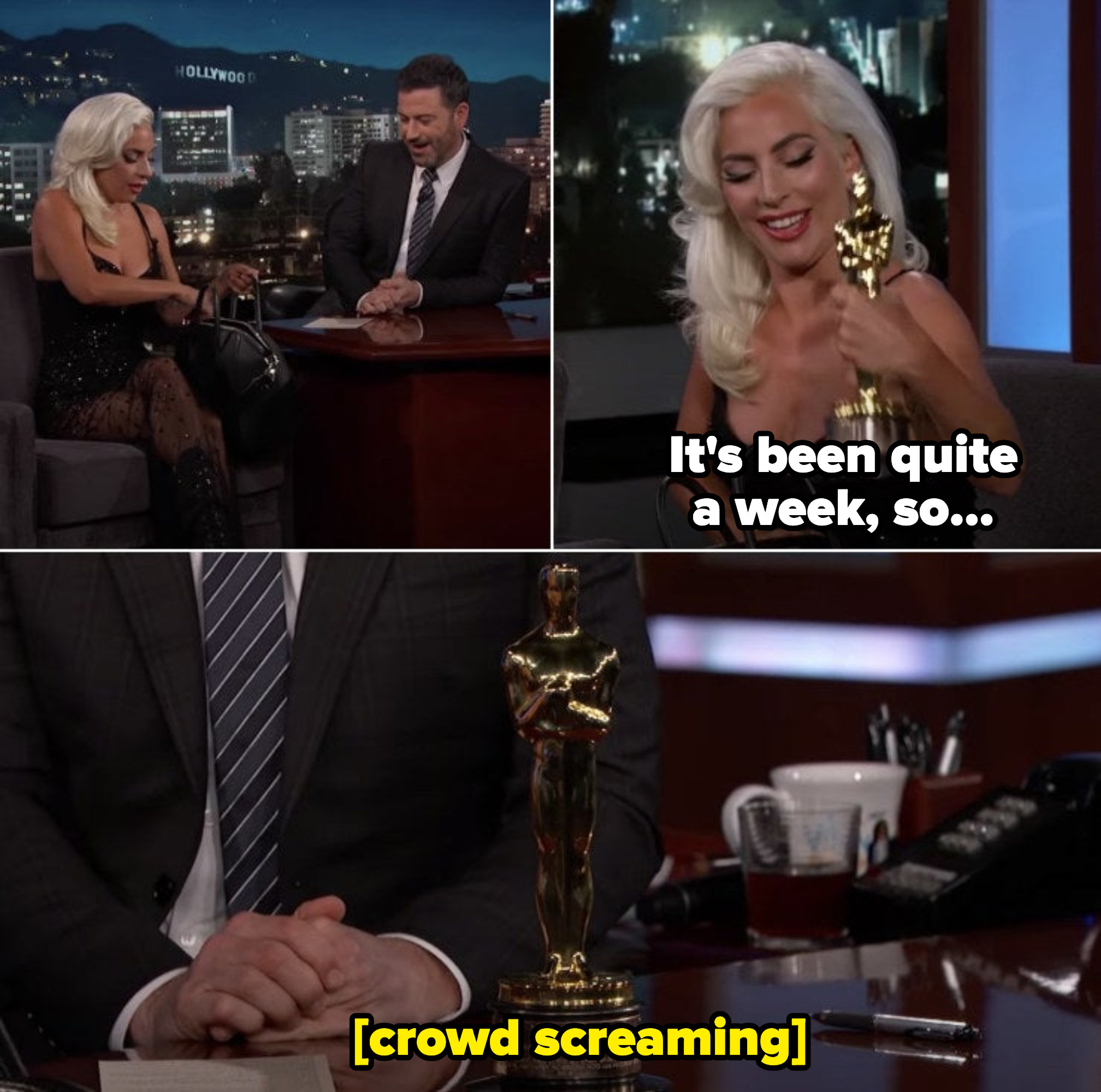 """Lady Gaga: """"It's been quite a week, so..."""" Places Oscar statue on Jimmy's desk as crowd cheers"""