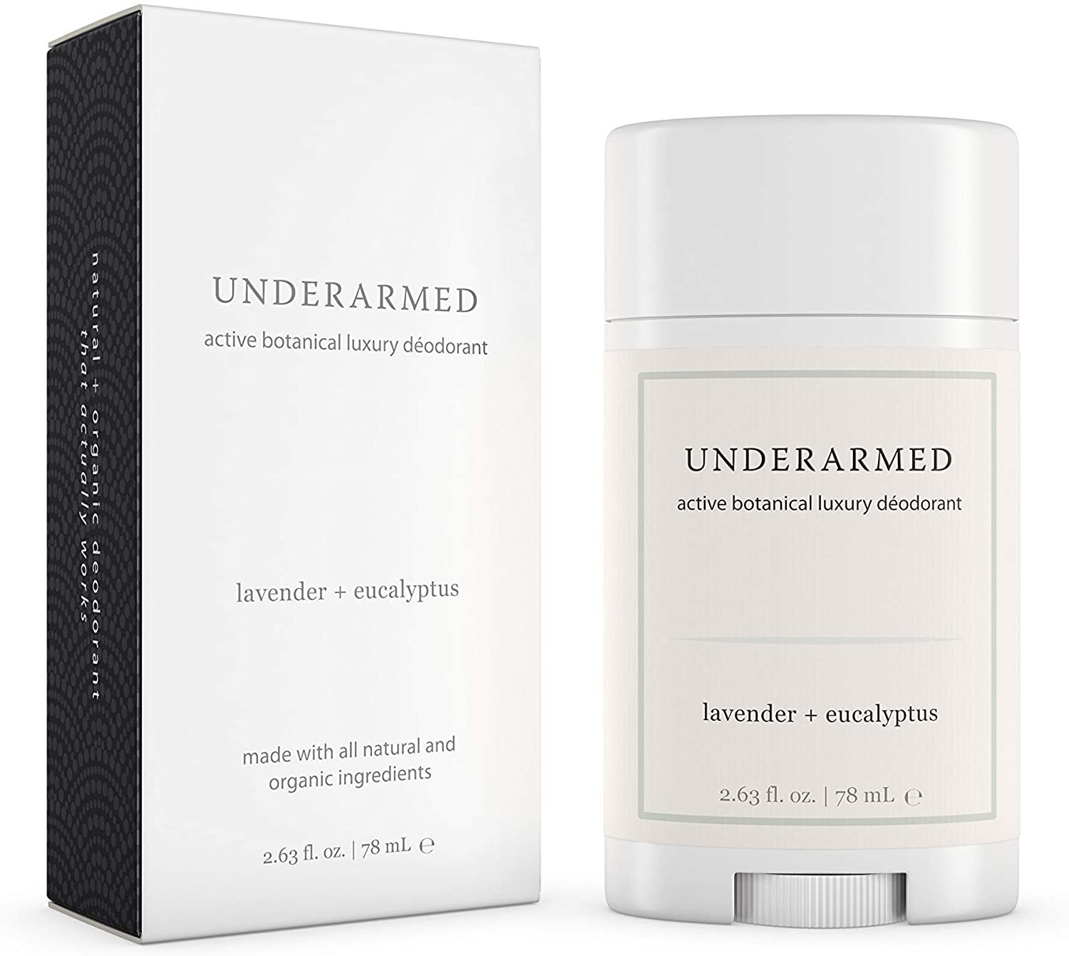 Product photo showing packaging and stick of UNDERARMED active botanical luxury deodorant in lavender and eucalyptus scent.