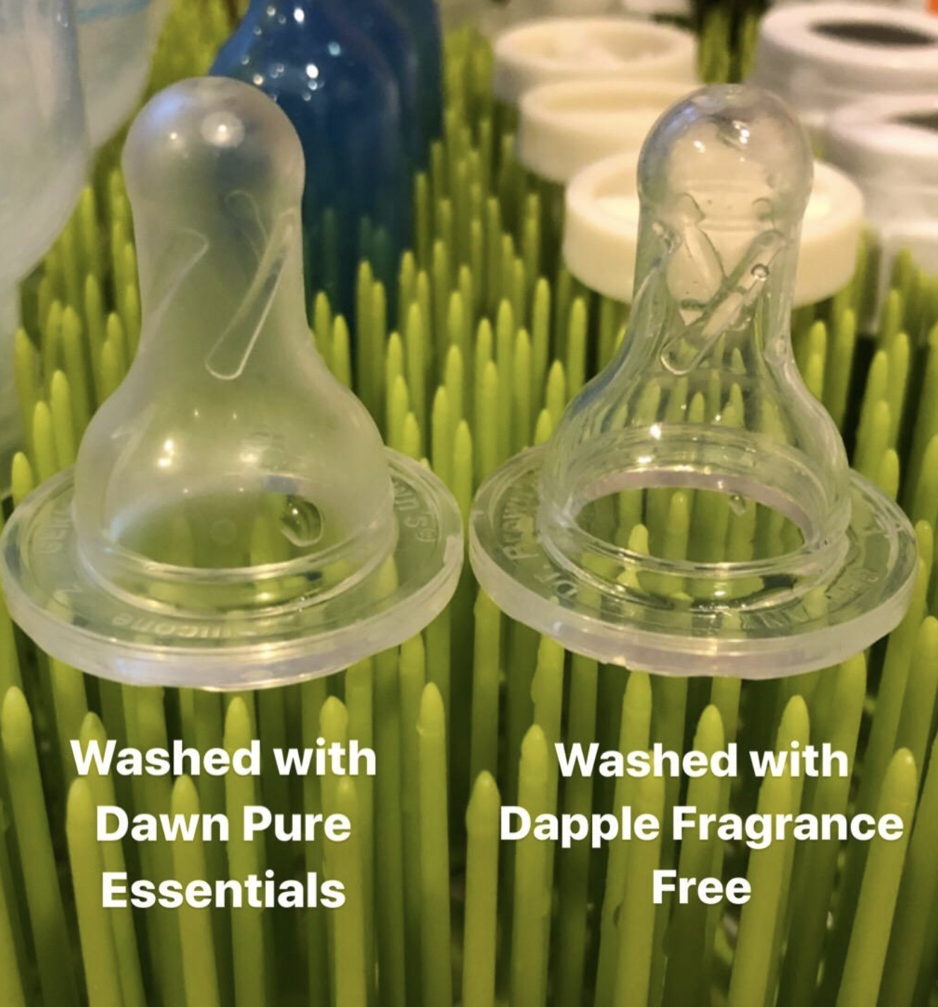 Reviewer photo showing bottle tip cleaned with Dawn and Dapple soap. When Dawn was used, there was significantly more residue left behind.