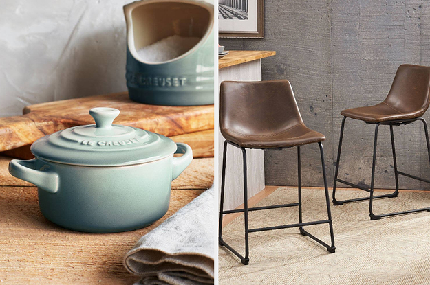 Side by side of Le Creuset and two leather bar chairs