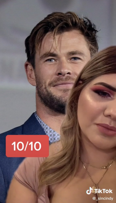 Cindy ranking Chris Hemsworth 10/10