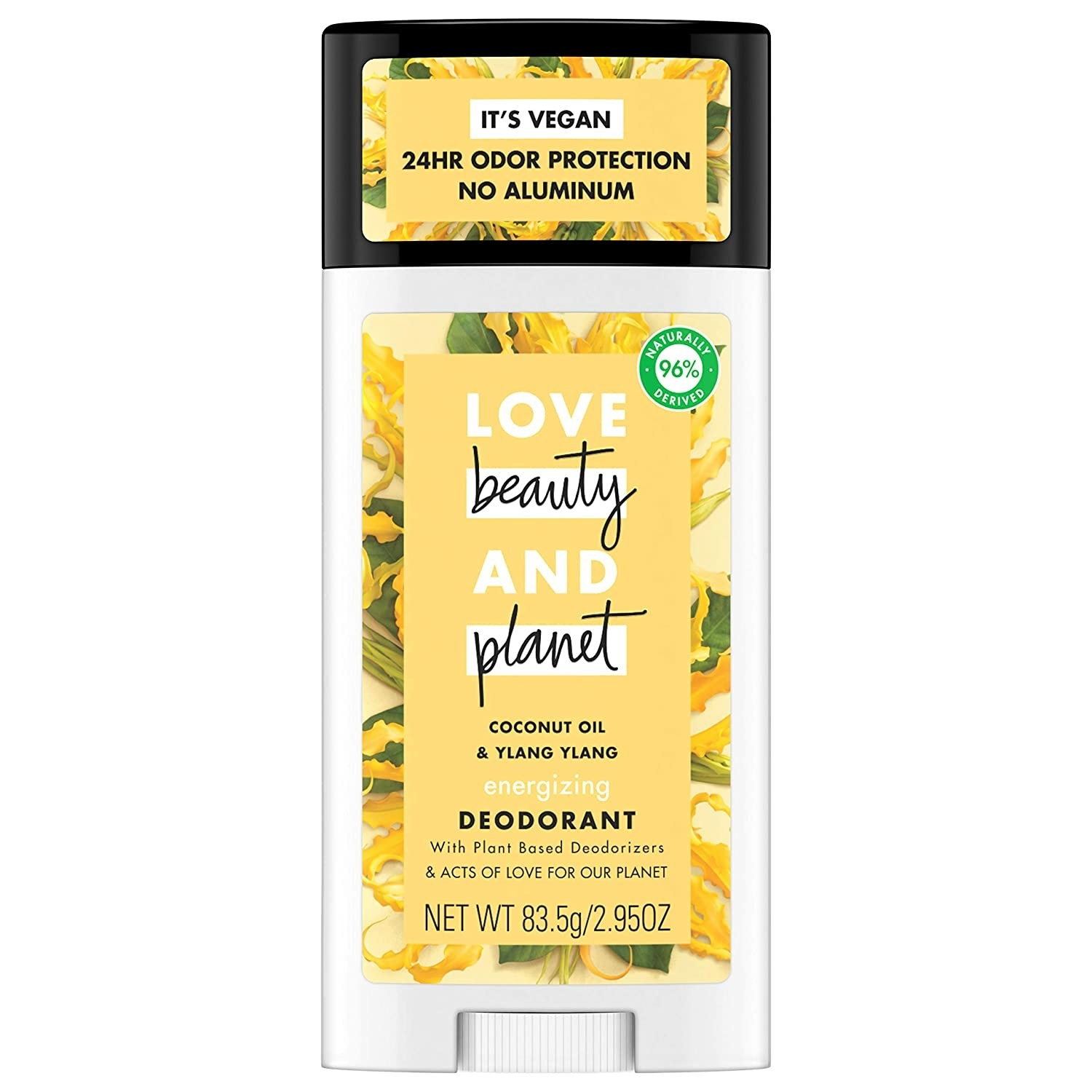 Product photo showing Love, Beauty & Planet coconut oil and yland ylang energizing deodorant.