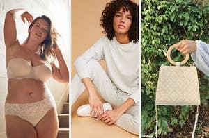 Model in bra and undies / model in grey sweatsuit / hand holding beige purse