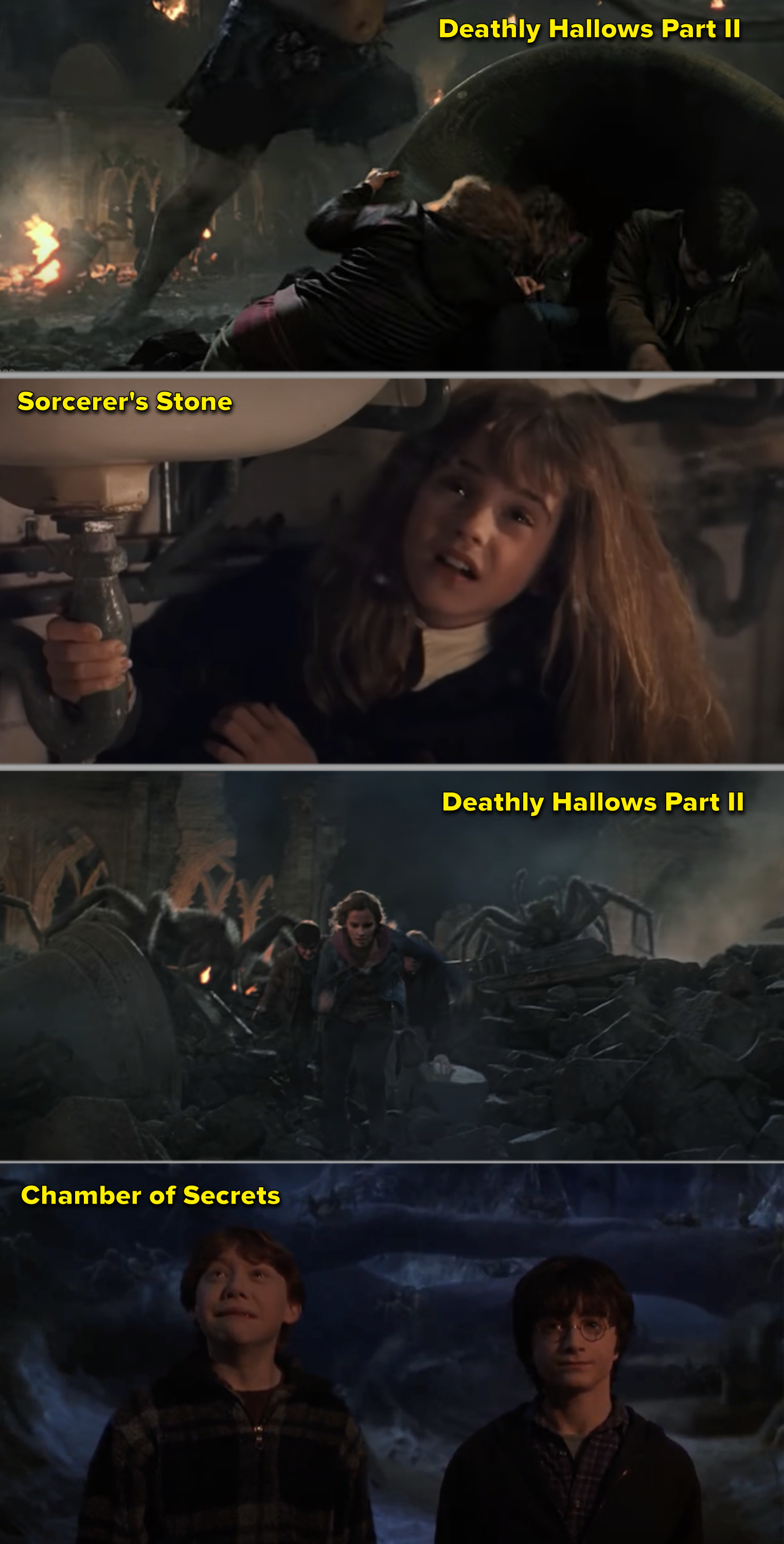 Side-by-sides of Harry, Ron, and Hermione fighting trolls, then spiders