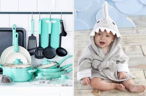 to the left: teal pots and pans, to the right: a baby in shark robe