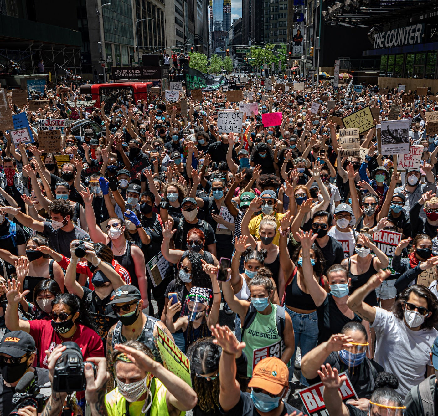 A crowd of Black Lives Matter protestors in New York's Time Square