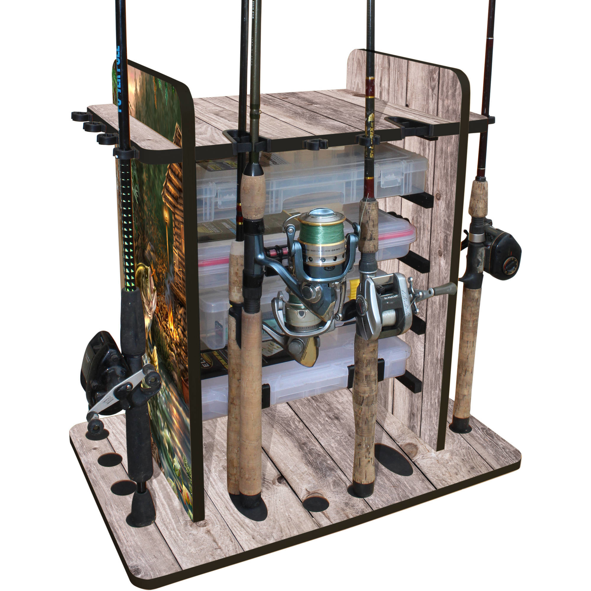 The Rush Creek Creations 14 Fishing Rod Rack with 4 Drawer Storage