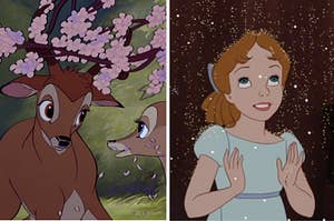 Wendy from Peter Pan being showered with pixie dust and two deer from bambi standing under some blooming flowers