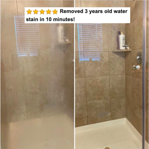 Reviewer's before-and-after picture of their shower door covered in hard water stains and then totally clear