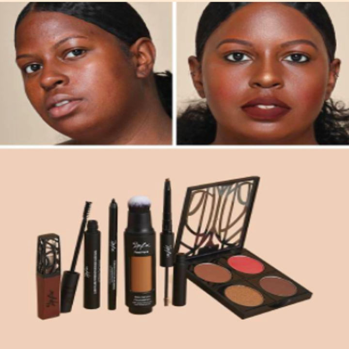 dark skin model with makeupless before and makeup after with kit of makeup that made it happen