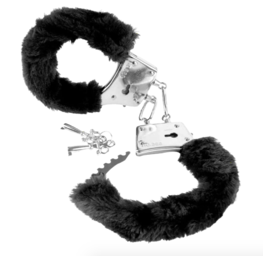 Pair of black furry handcuffs with silver keys