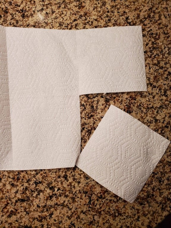 Paper towel sheets that are precut to divide into two small squares
