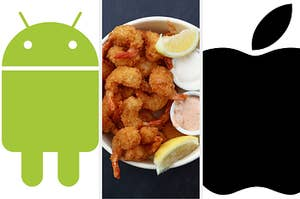 Android logo, shrimp, and iPhone logo.