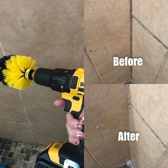 Reviewer holding their drill with the scrubbing brush attached, and their shower with grout and then totally clean