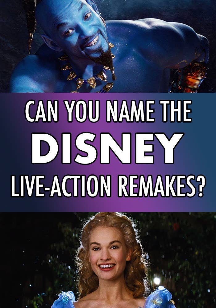 """Side-by-side images of Lily James as Cinderella and Will Smith as Genie with the question, """"Can you name the Disney live-action remakes?"""""""