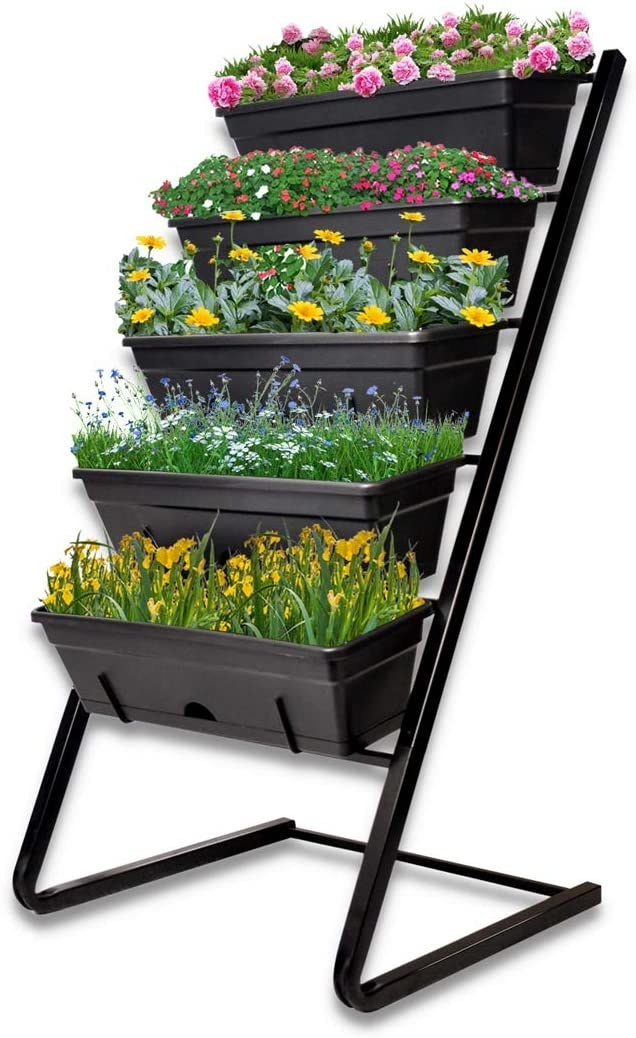 The Ablegrid Vertical Garden Freestanding Elevated Planters with 5 Container Boxes