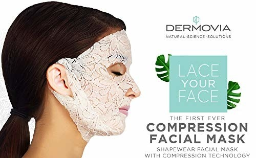 model wearing the white lace sheet mask with ear loops to help it cover your neck and stay put