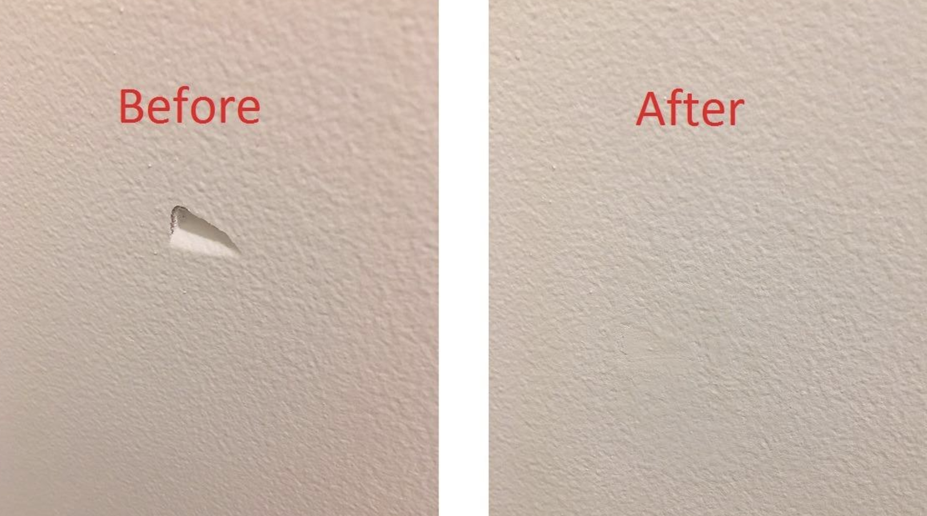 Reviewer's before and after showing a small dent in their wall, and the after photo showing how the kit fixed it with no hole
